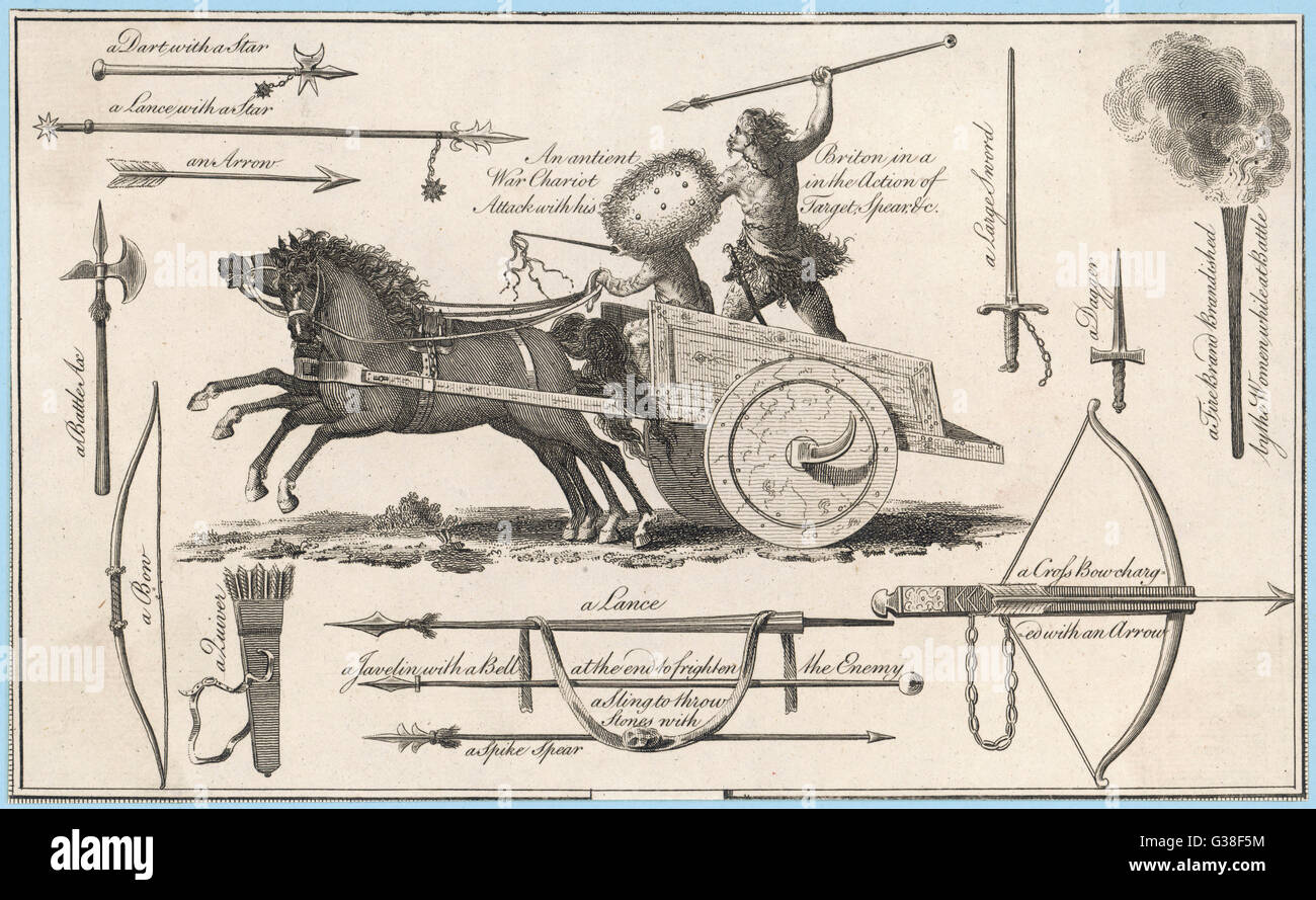 CHARIOT -  Ancient British chariot and  examples of weaponry of that  time - Stock Image