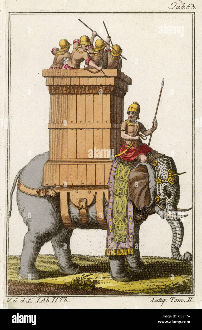 Elephant employed in war by  Indians in ancient times : only his head and trunk are  armoured, and he carries a - Stock Image