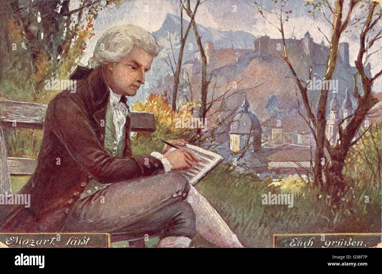 WOLFGANG AMADEUS MOZART  the Austrian composer at work  in Salzburg       Date: 1756 - 1791 - Stock Image
