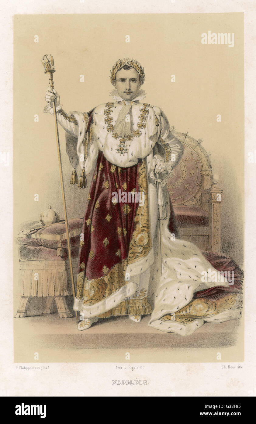 Emperor of France  In his coronation robes        Date: 1769 - 1821 - Stock Image