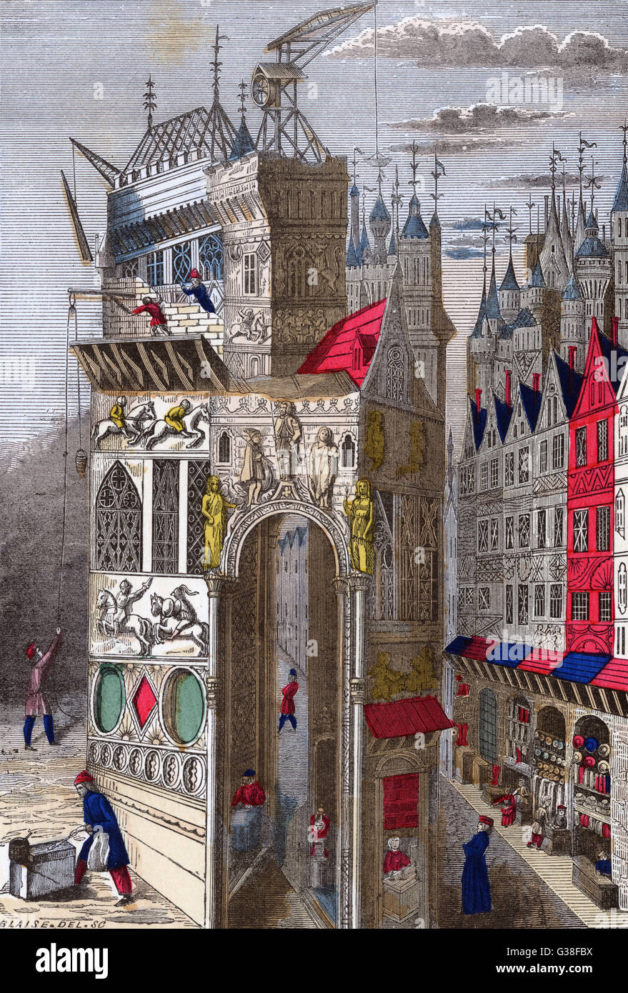 Building a palatial mansion  in 15th century Paris : as  always, leading citizens  sought to outrank one another - Stock Image