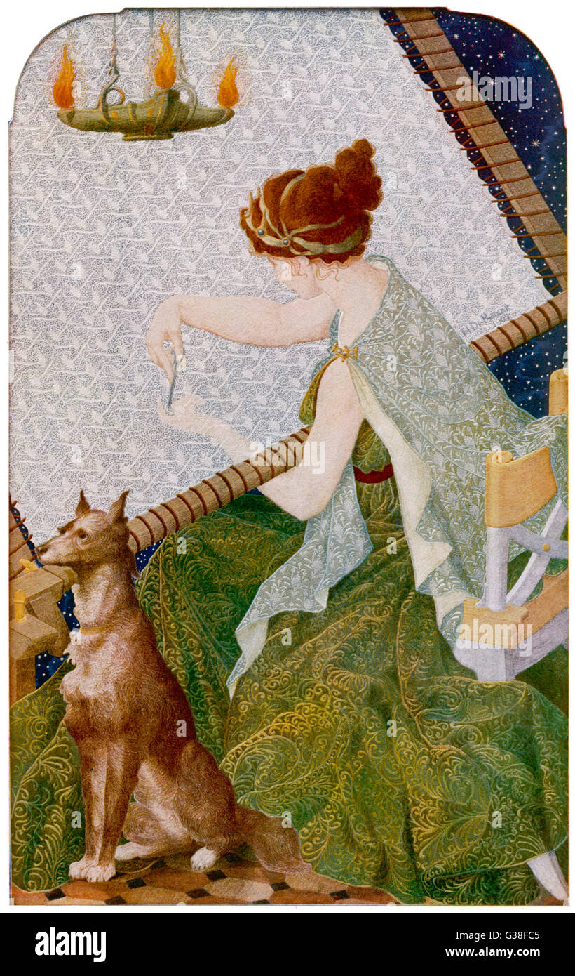 at work on her embroidery,  which she will unstitch at  night to avoid remarriage ; Odysseus' faithful dog Argus, - Stock Image