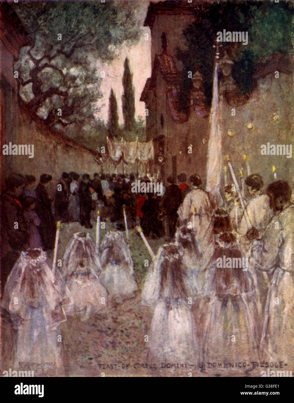 Corpus Christi procession, on  Thursday after Trinity, at  Fiesole, near Firenze (Italy)       Date: 1902 - Stock Image