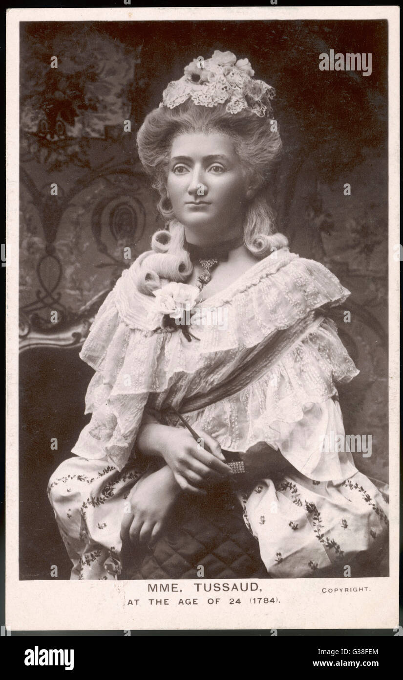 MADAME MARIE TUSSAUD  the Swiss wax model maker at  the age of 24, in the form of  a waxwork model      Date: 1760 - Stock Image