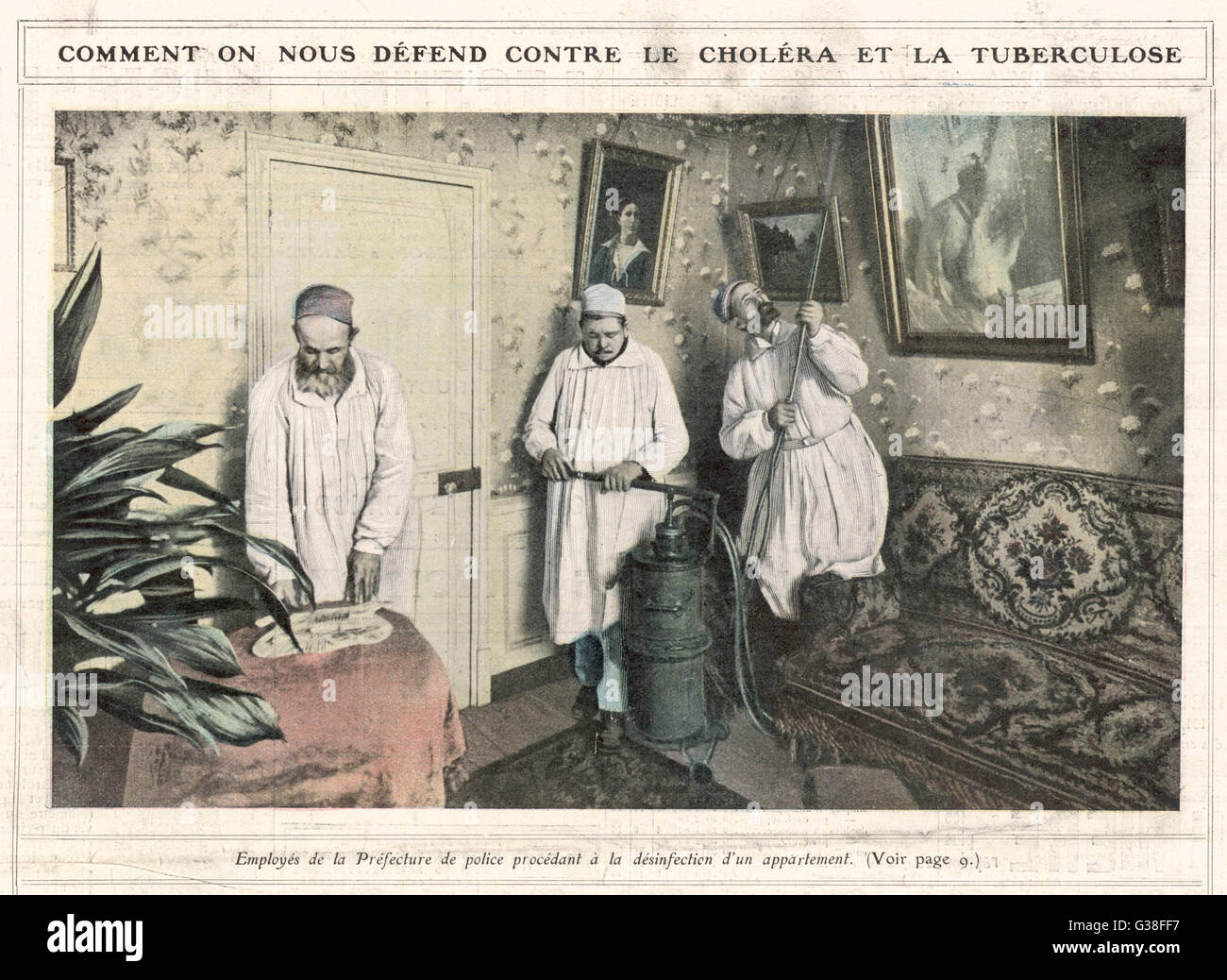 DISINFECTING A HOME Workers for the Paris  prefecture disinfect a home  where tuberculosis or cholera  have occurred - Stock Image