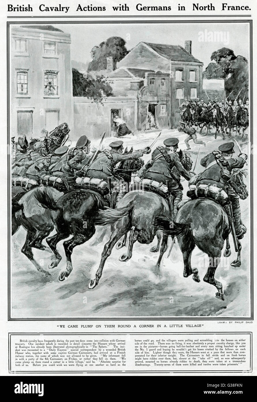 A cavalry fight in a French  village early in World War One. British Hussars rout  German Cuirassiers        Date: - Stock Image