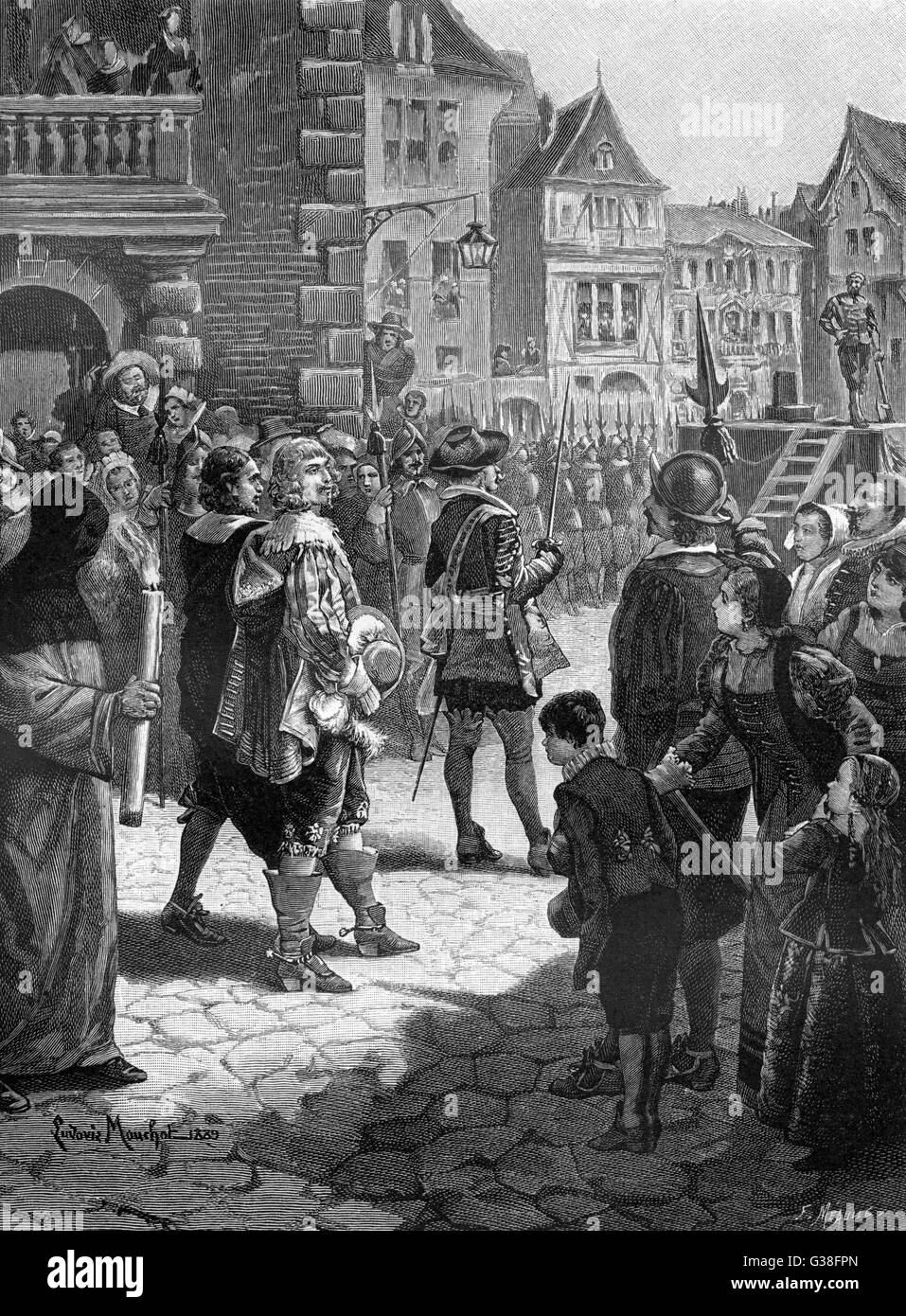 Cinq-Mars and Francois-Auguste  De Thou are executed at Lyon  on charges of conspiracy        Date: September 1642 - Stock Image