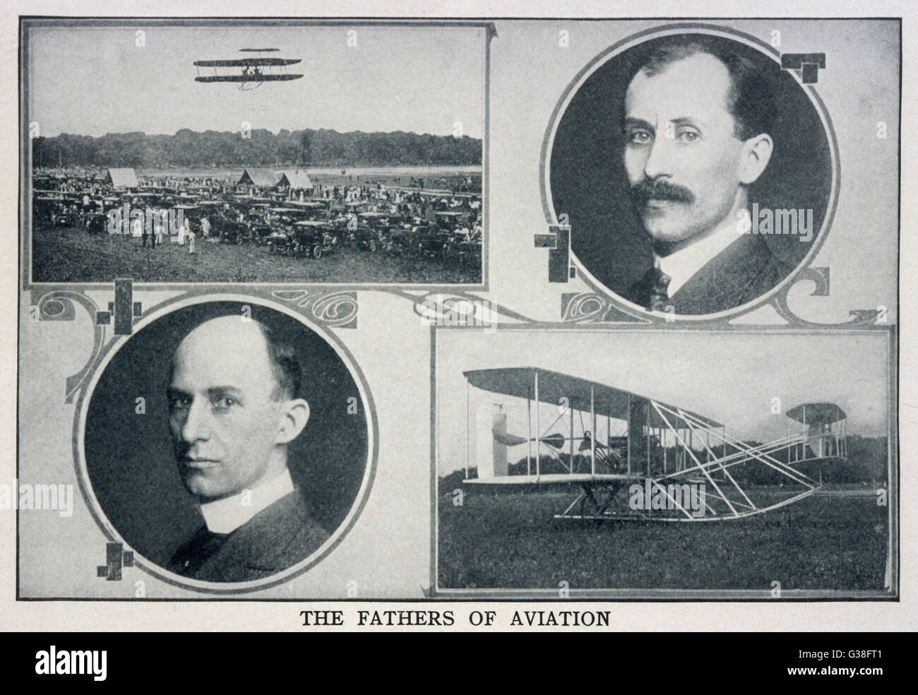 Portraits of Wilbur (left) and  Orville (right) Wright and  pictures of their planes. - Stock Image