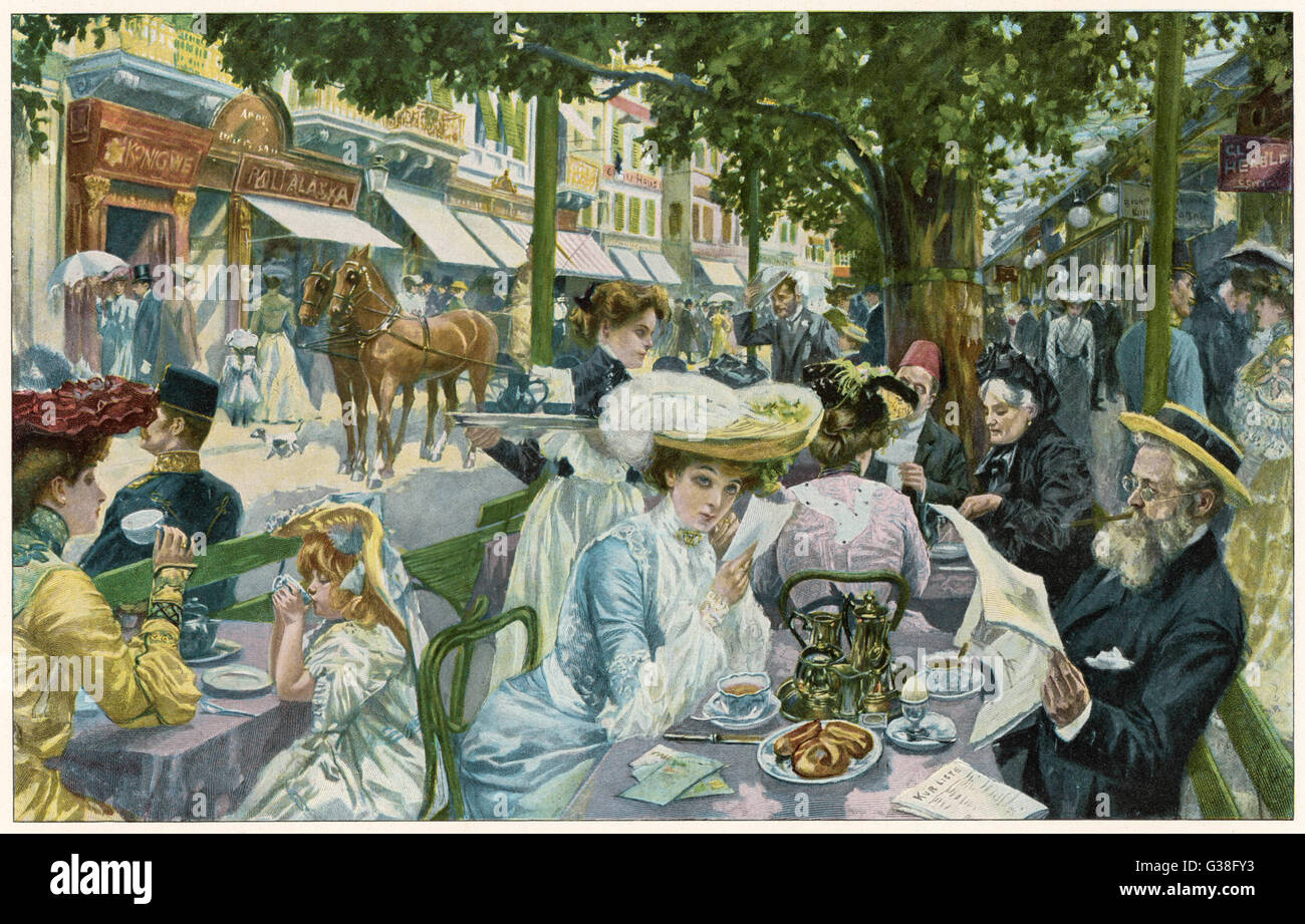 A busy time in the 'Alte  Wiese' cafe, Karlsbad.        Date: 1904 - Stock Image