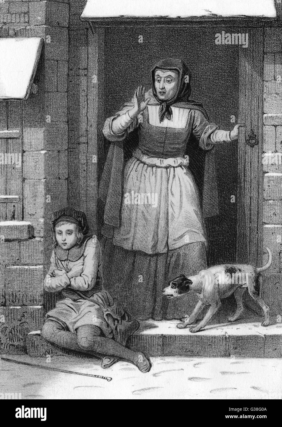 A lady is astonished to find a  child sheltering from the snow on her doorstep ; her dog is no less surprised   - Stock Image