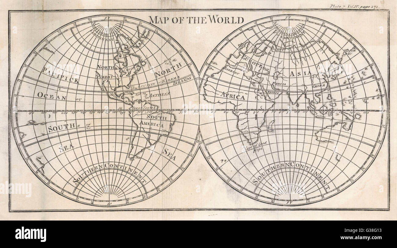 Earth's globe still far from  completely mapped - note how  North America and Australia  fade away...      Date: - Stock Image