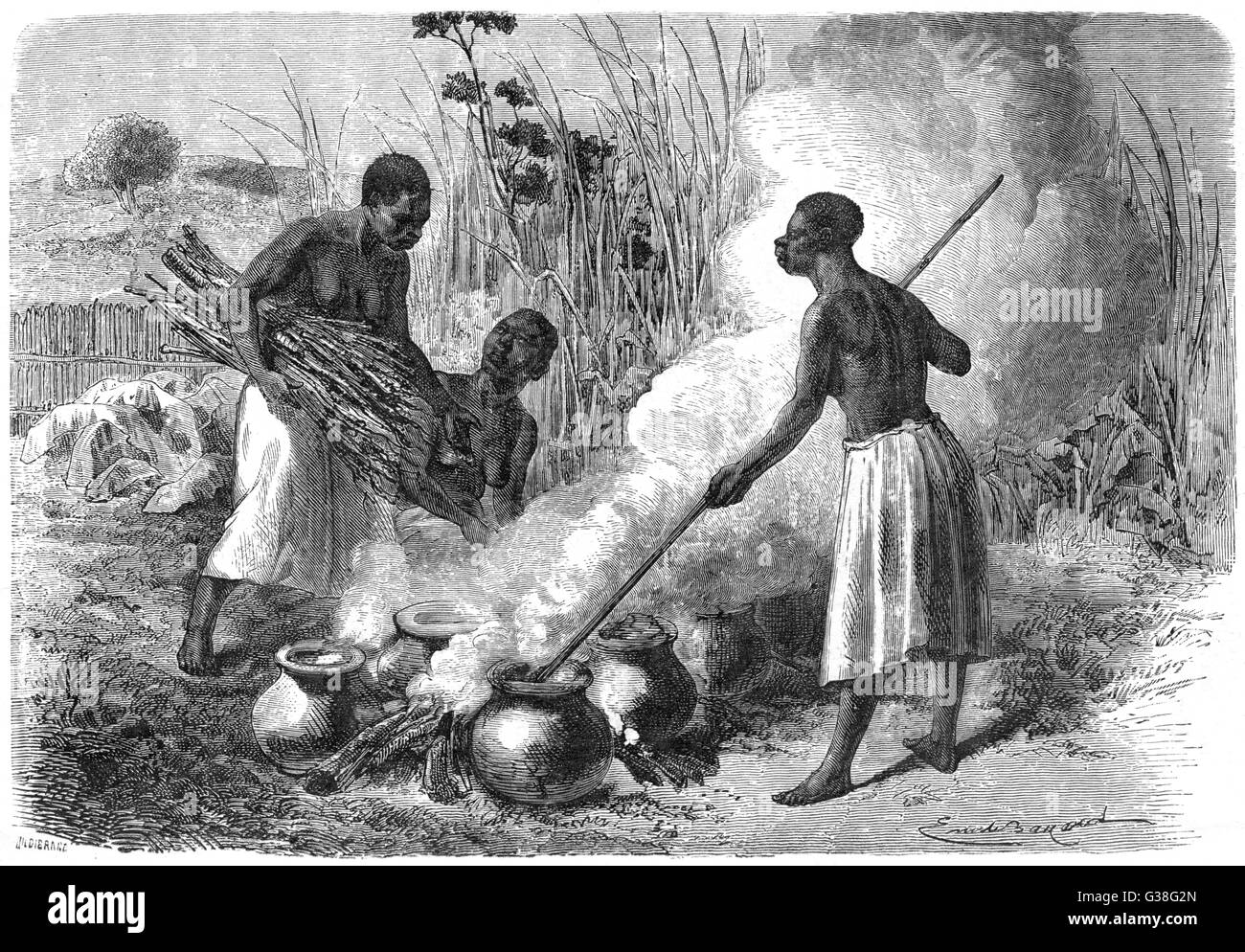 Primitive beer-making in Zanzibar, East Africa        Date: 1877 Stock Photo