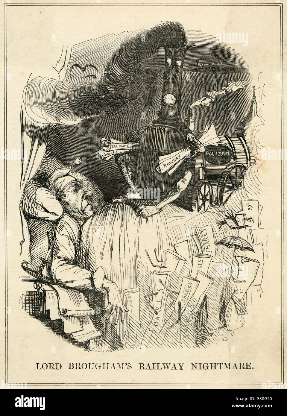 The Government - well, Lord  Brougham, at any rate - are  haunted by the nightmare of  railway speculation      - Stock Image