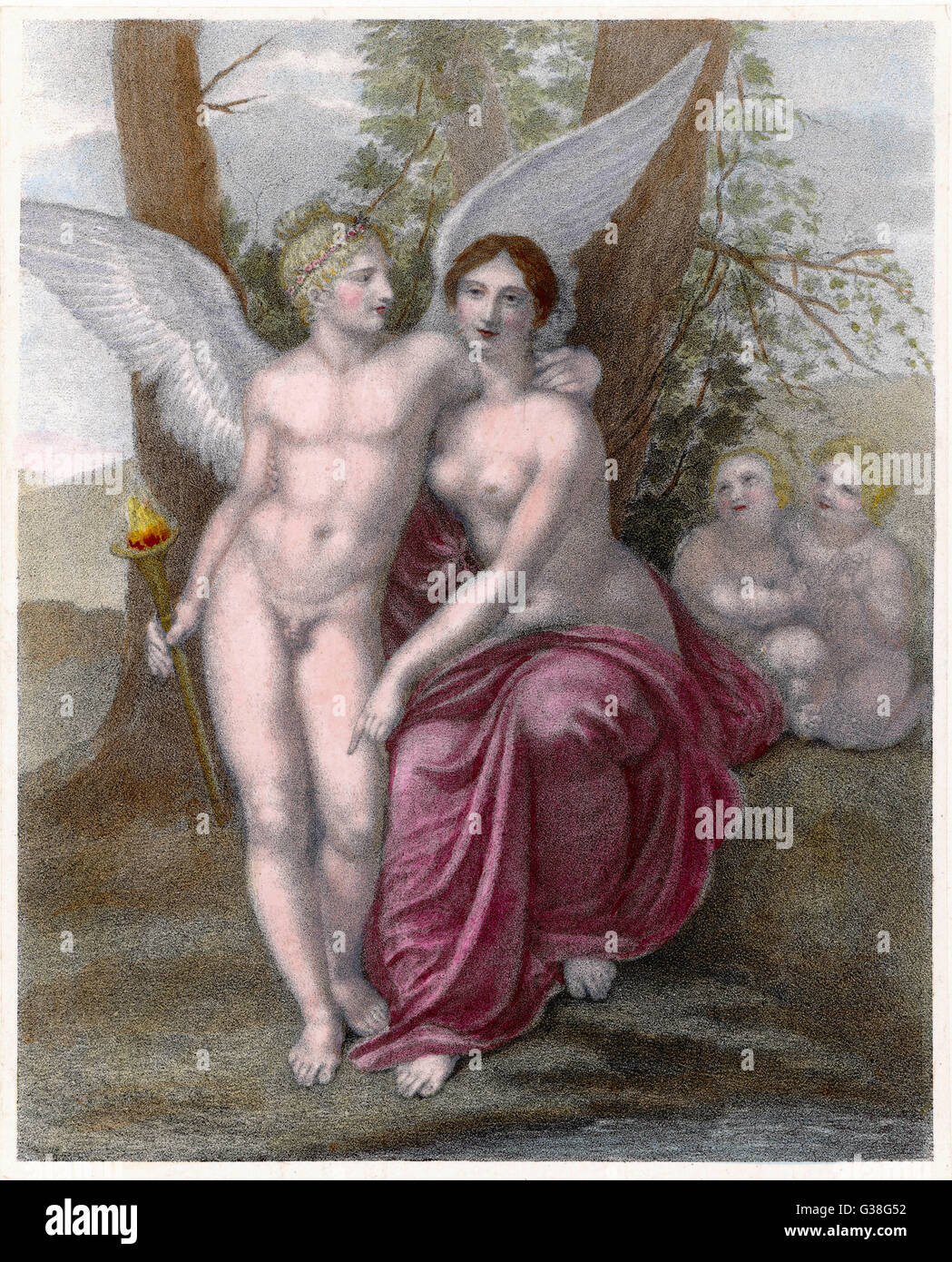 Eros, the God of Love, makes  friends with Friendship - Stock Image