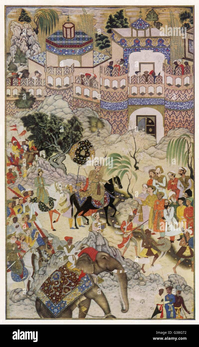Mughal emperor AKBAR ('the  Great') enters Surat, Gujerat,  after an astonishingly rapid  11-day campaign - Stock Image