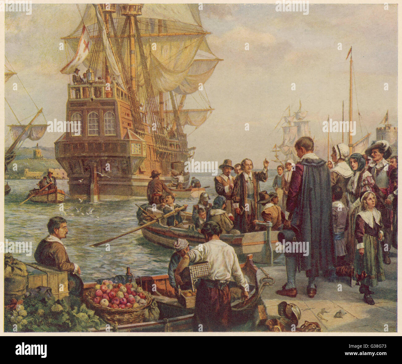 102 Protestants (24 of them  women) leave Plymouth for  America in the 'Mayflower'.   Only 35 were Puritans. - Stock Image