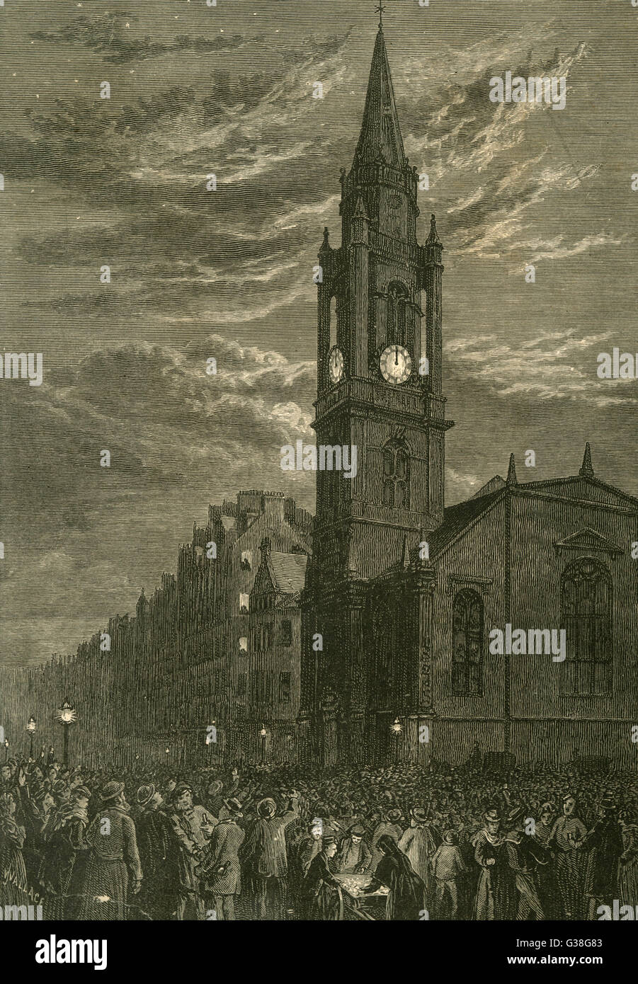 SCOTTISH NEW YEAR Crowds throng the streets  round the Tron Church,  Edinburgh       Date: 1870 - Stock Image