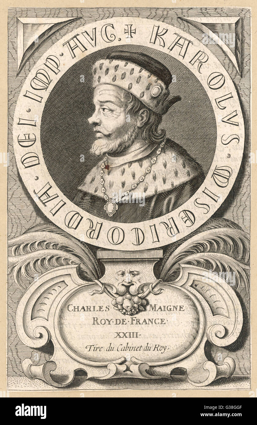 CHARLEMAGNE (Charles I, roi de France)         Date: 742 - 814 - Stock Image