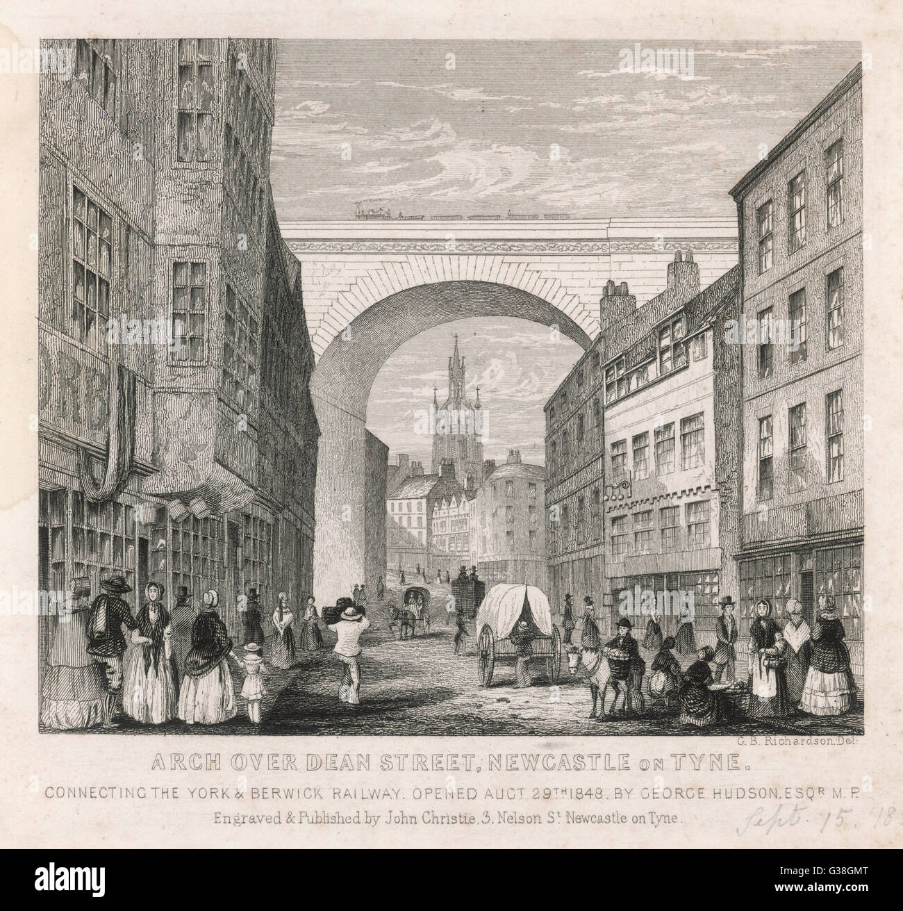The railway arch over Dean  Street, Newcastle upon Tyne,  connecting the York and  Berwick railway. It was opened - Stock Image