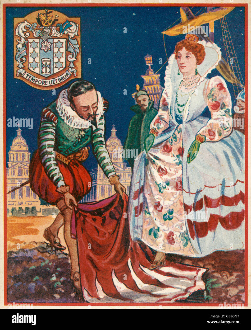 The gallant Sir Walter Raleigh  lays down his cloak at the  feet of Queen Elizabeth I to  prevent her from stepping - Stock Image