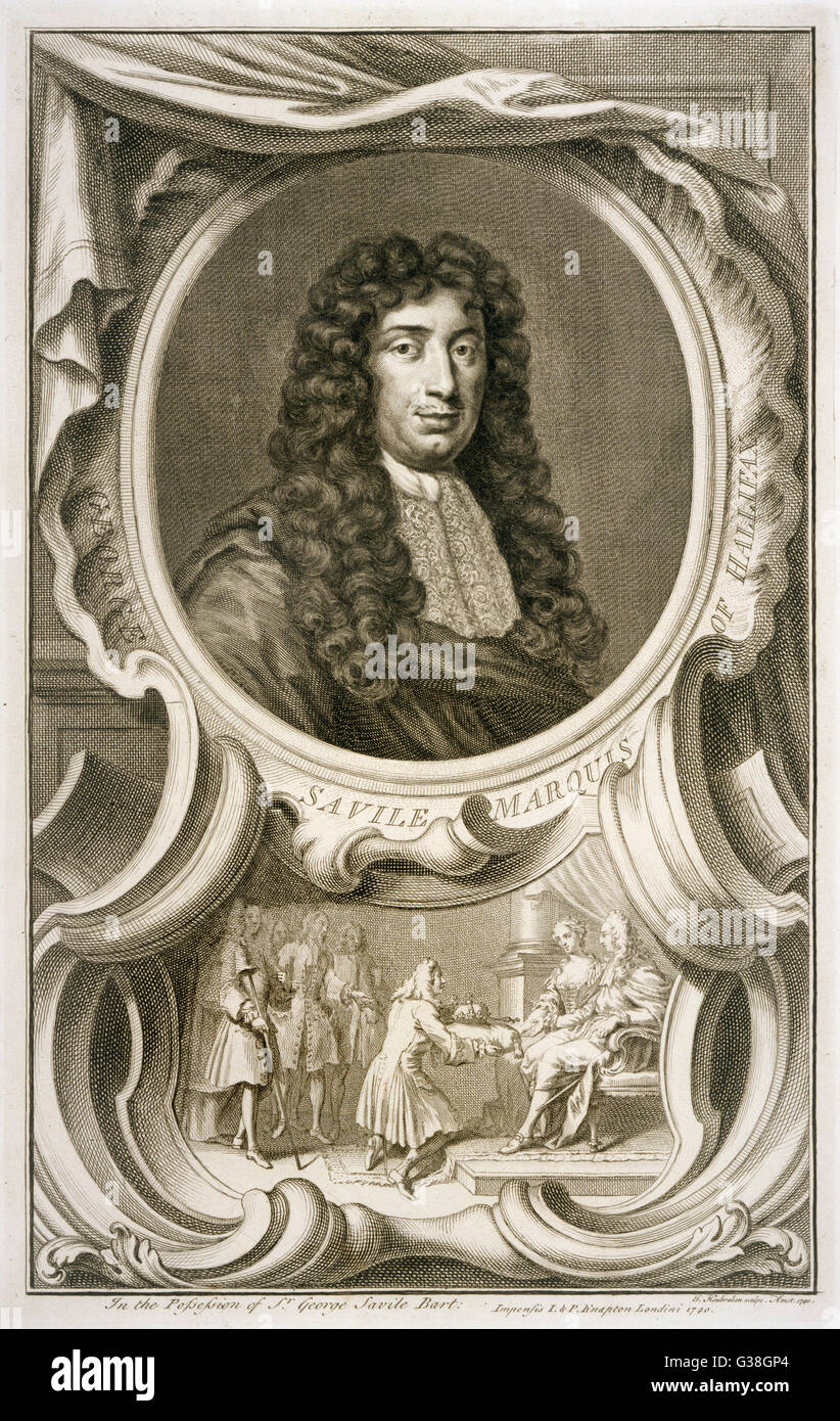 sir GEORGE SAVILE, marquis  of HALIFAX  influential statesman, notably under Charles II      Date: 1633 - 1695 - Stock Image