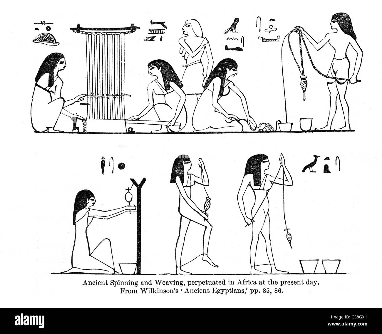 Spinning and weaving in Egypt         Date: circa 3000 BC - Stock Image