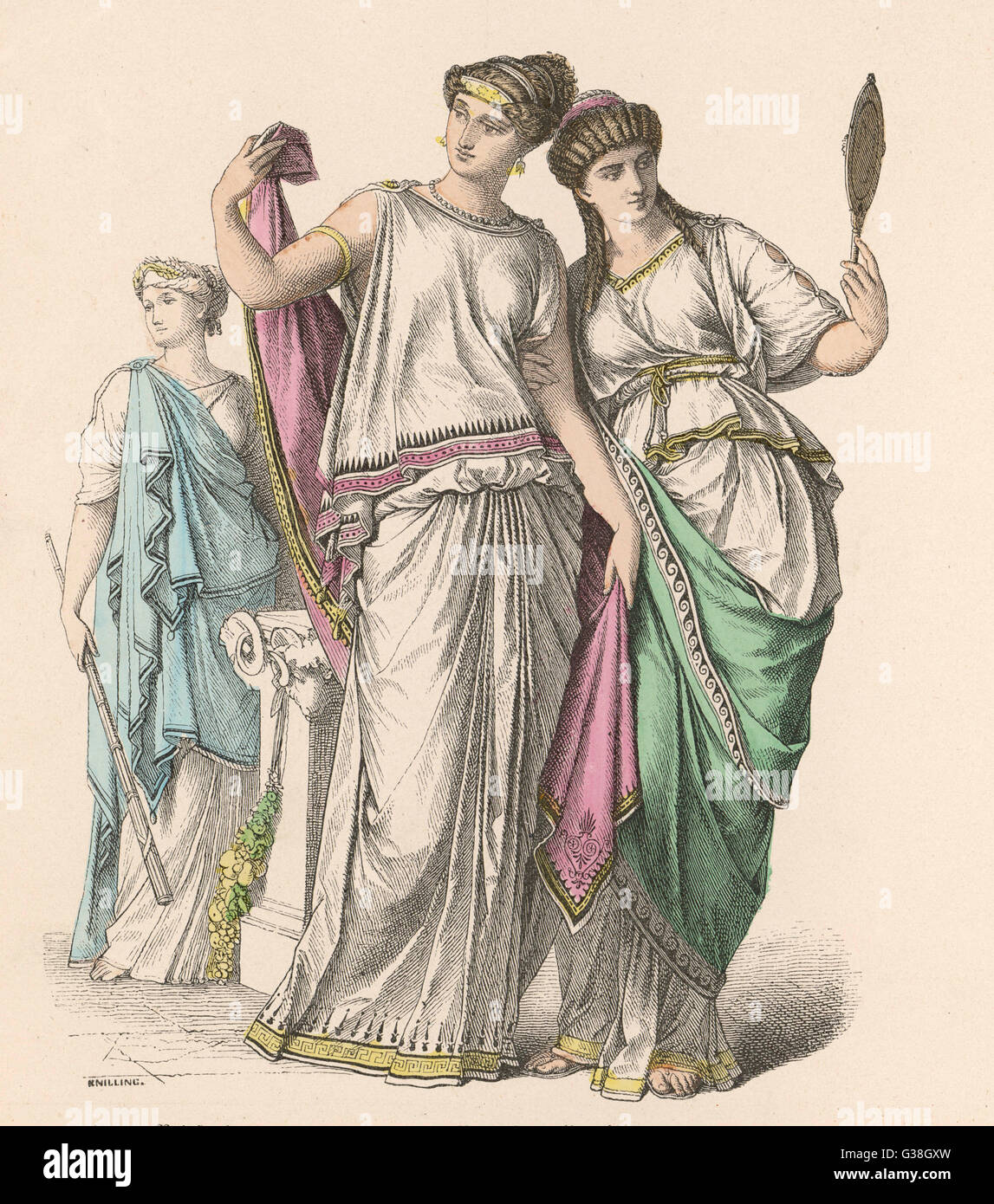Aristocratic ladies and a  Priestess. - Stock Image