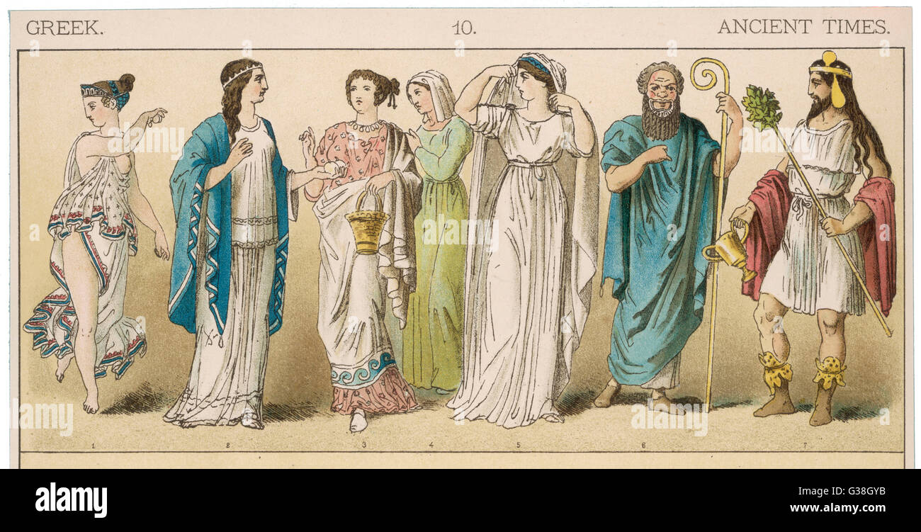 Various Ancient Greek  costumes; left to right - one female dancer, four women  in everyday costume and two  actors. - Stock Image