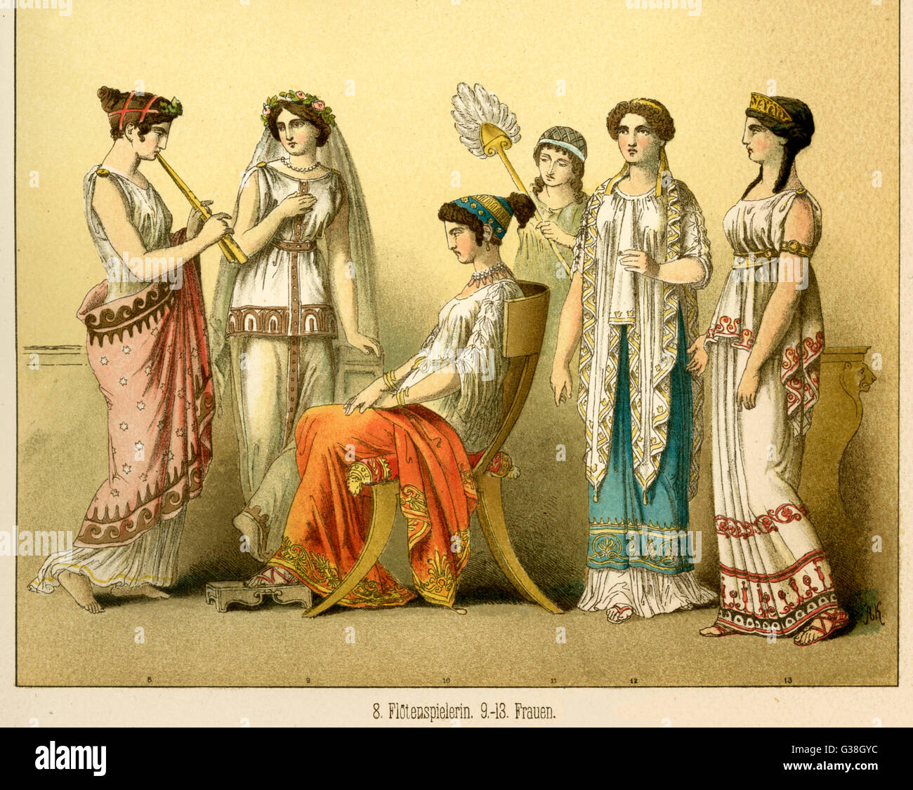 Various Ancient Greek  costumes; left to right - One female flute player and  the rest are women's everyday - Stock Image