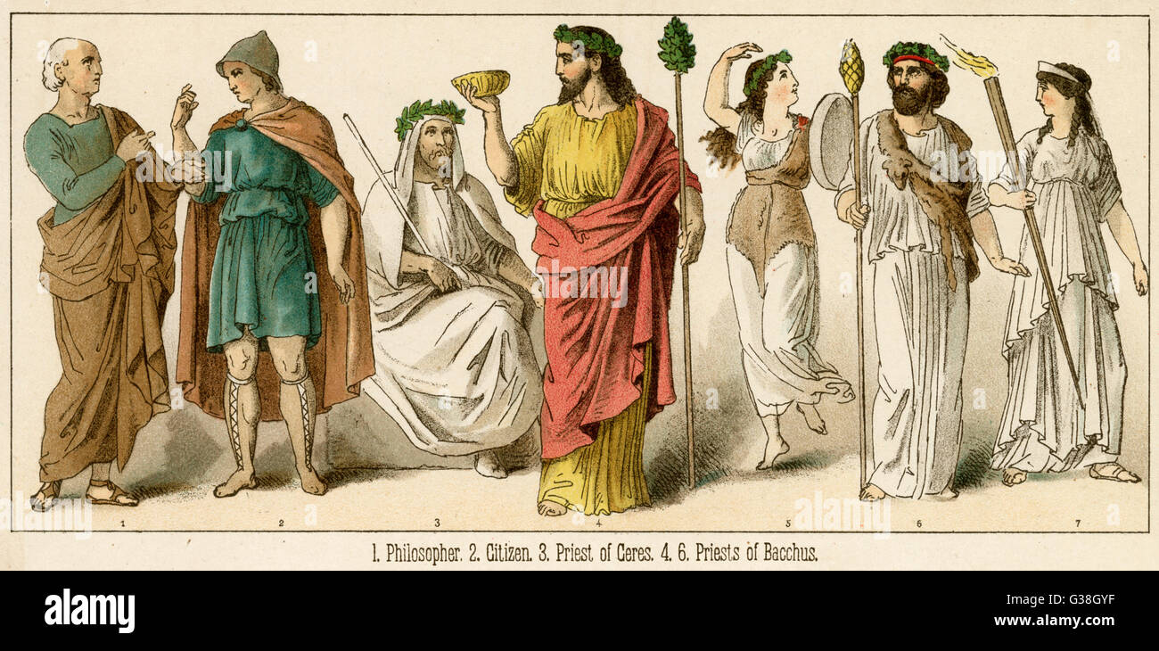 Various Ancient Greek  costumes; left to right - philosopher, citizen, Priest  of Ceres, 2 Priests of Bacchus  with - Stock Image