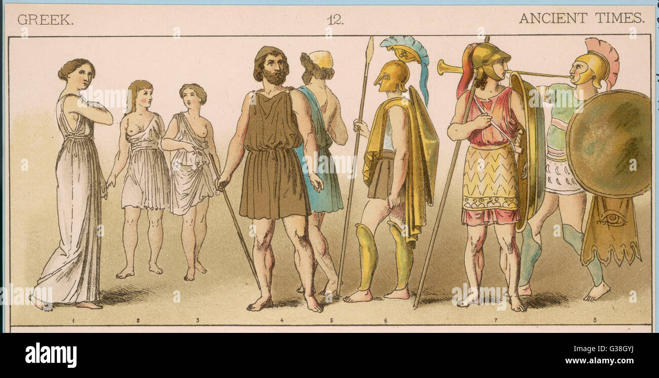 Various Ancient Greek  costumes; left to right - a woman and 2 girls in  gymnastic costume, men of the  Commonalty, - Stock Image