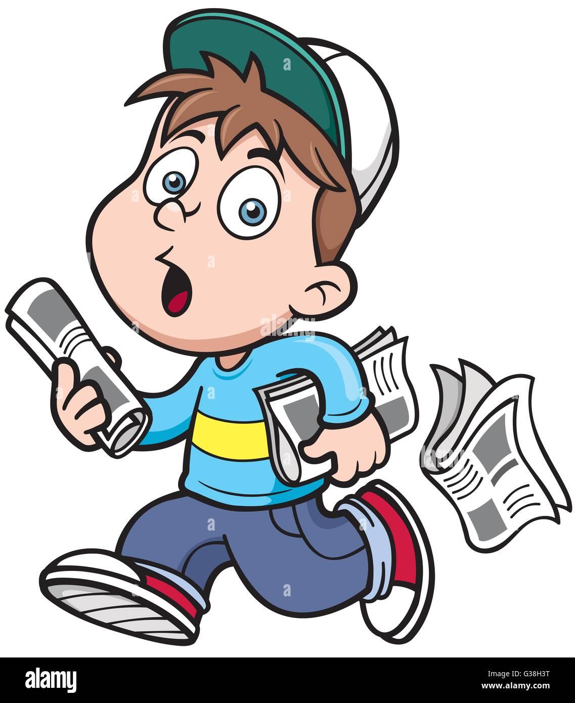 vector illustration of paperboy cartoon stock vector art
