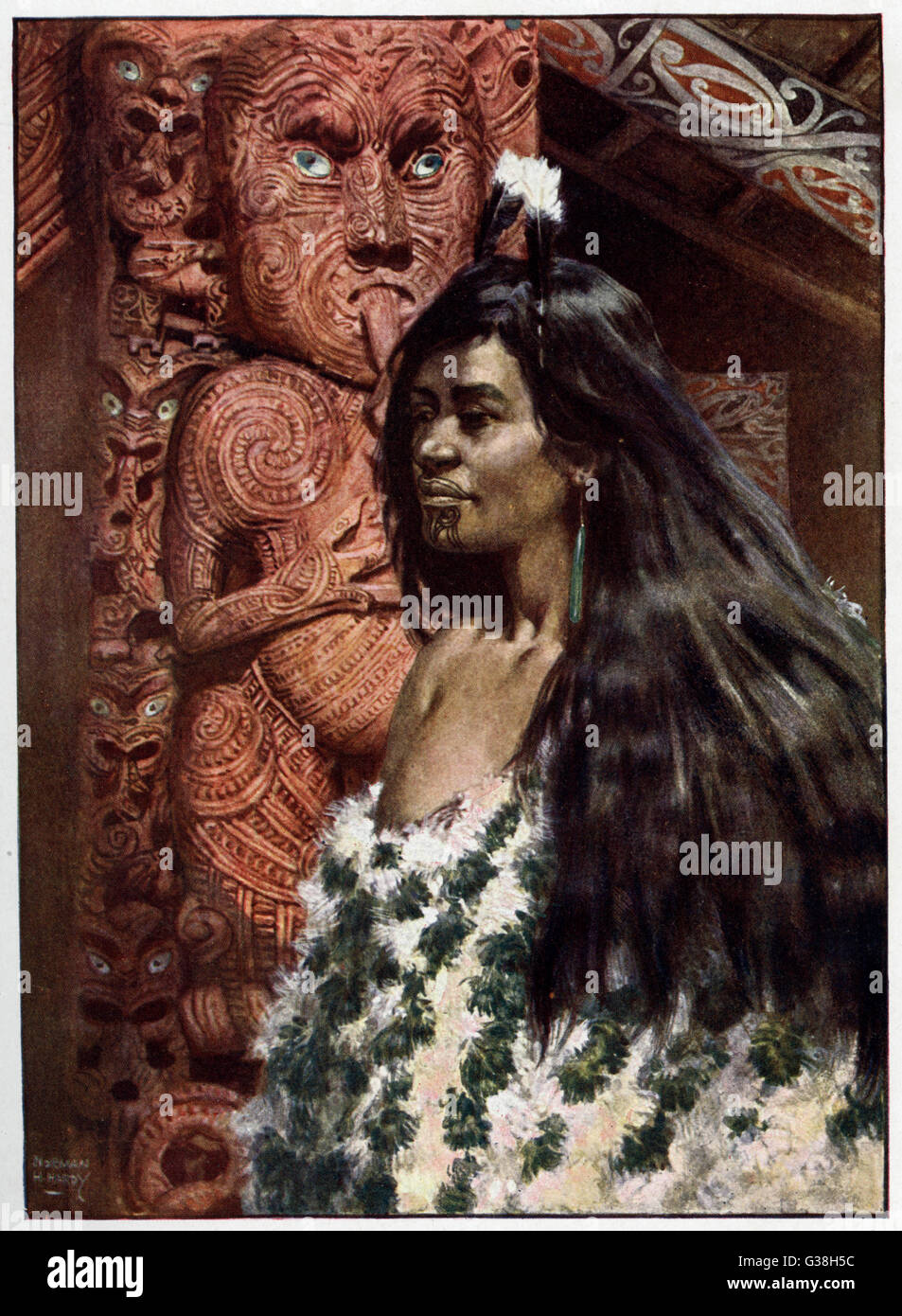 Maori girl with tattooed chin, hair ornaments and ear-rings         Date: 1908 - Stock Image