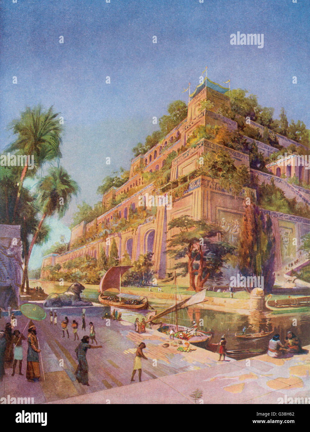 Hanging Gardens of Babylon. Allegedly built by  Nebushadnezzar II for his wife  Amyitis, who missed her  homeland, Stock Photo