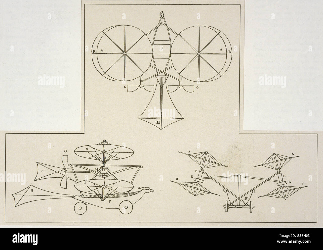 CAYLEY'S HELICOPTER-AEROPLANE With two lateral helicopter  rotors to provide lift, and  two propellers for propulsion, - Stock Image