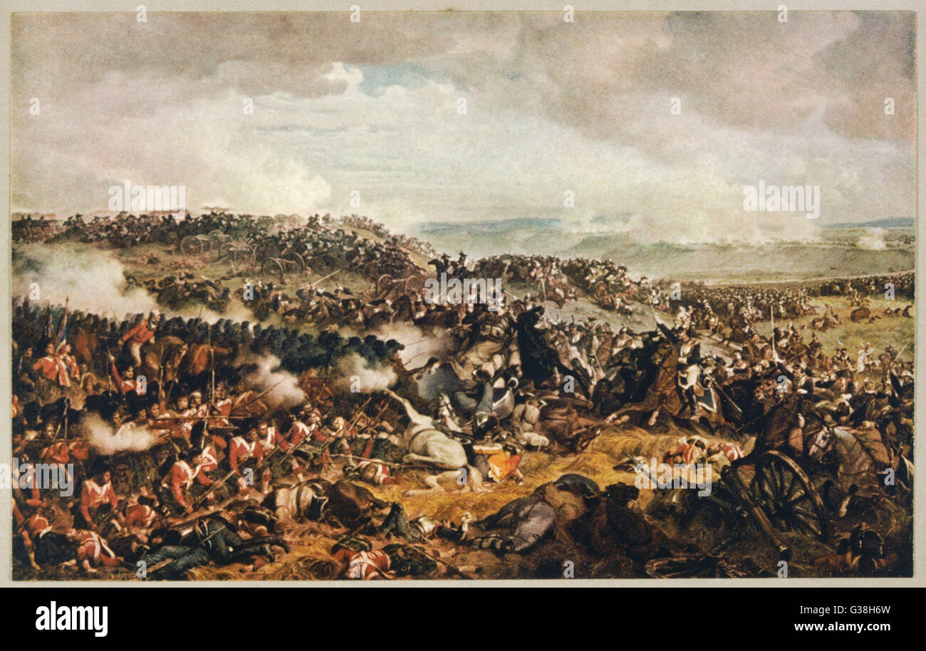 Battle of WATERLOO The Highlanders form a square  to withstand the cavalry  charge of the French  cuirassiers   Stock Photo