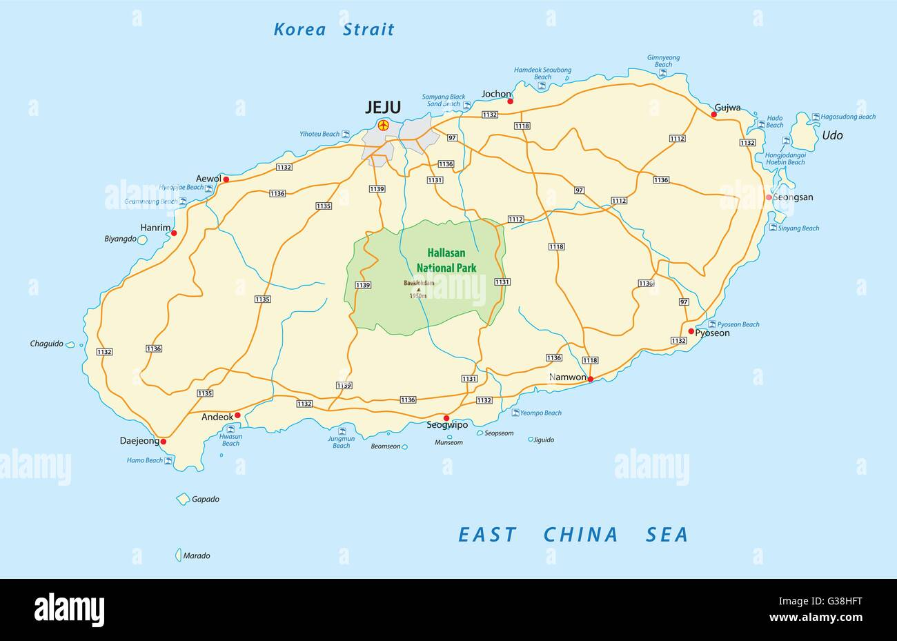 road map of the South Korean Jeju Island - Stock Image