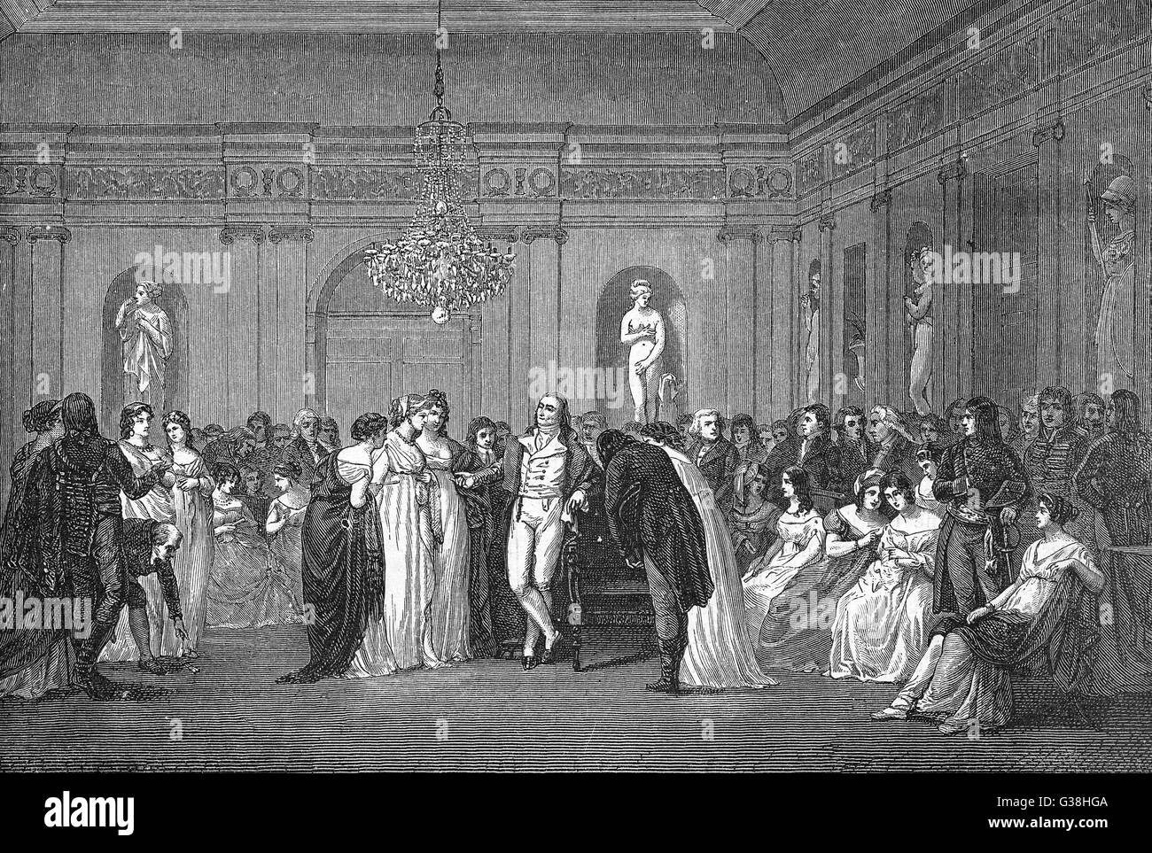 An evening party in  revolutionary Paris         Date: circa 1798 - Stock Image
