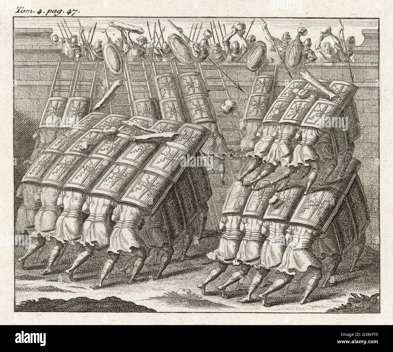 The TESTUDO (tortoise), a  Roman siege technique using overlapping shields, giving protection from arrows and  boiling - Stock Image