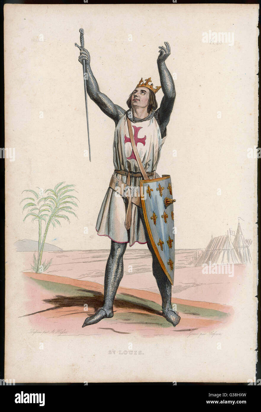 Louis IX, crusader, with his  arms outstretched.         Date: 1248 - Stock Image