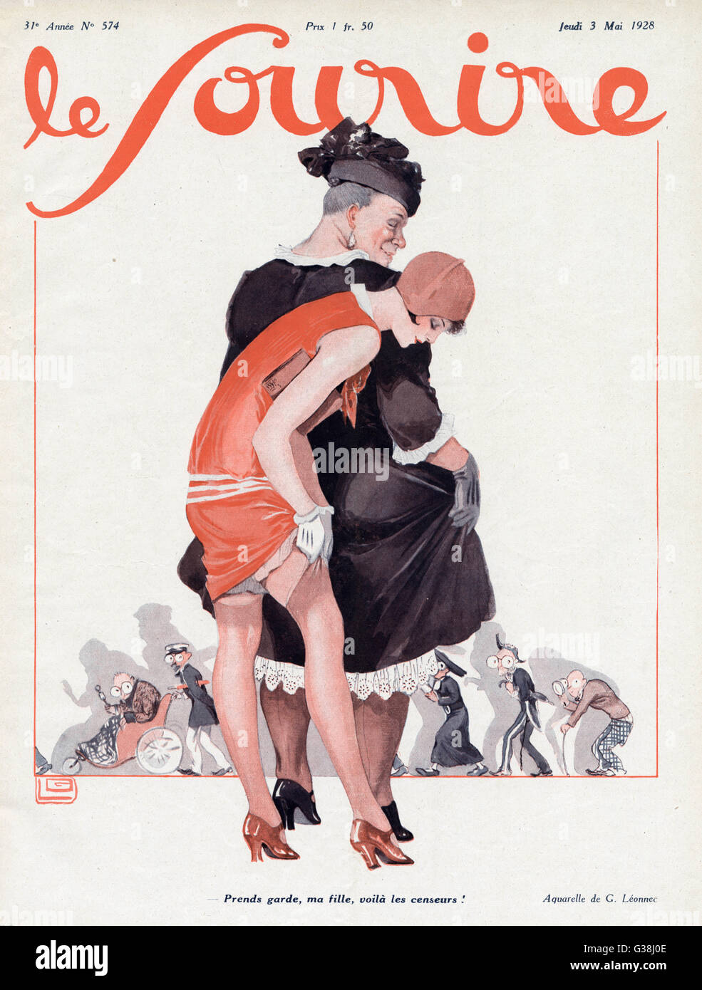 - Take care, girl : look out  for the censors !         Date: 1928 - Stock Image