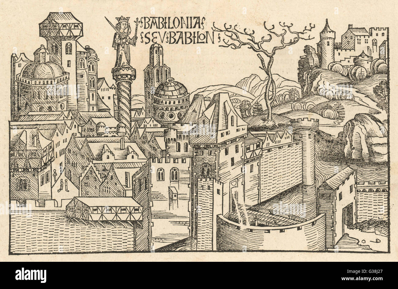 A 15th century, German view of  what Babylon may have looked  like.        Date: 1485 Stock Photo