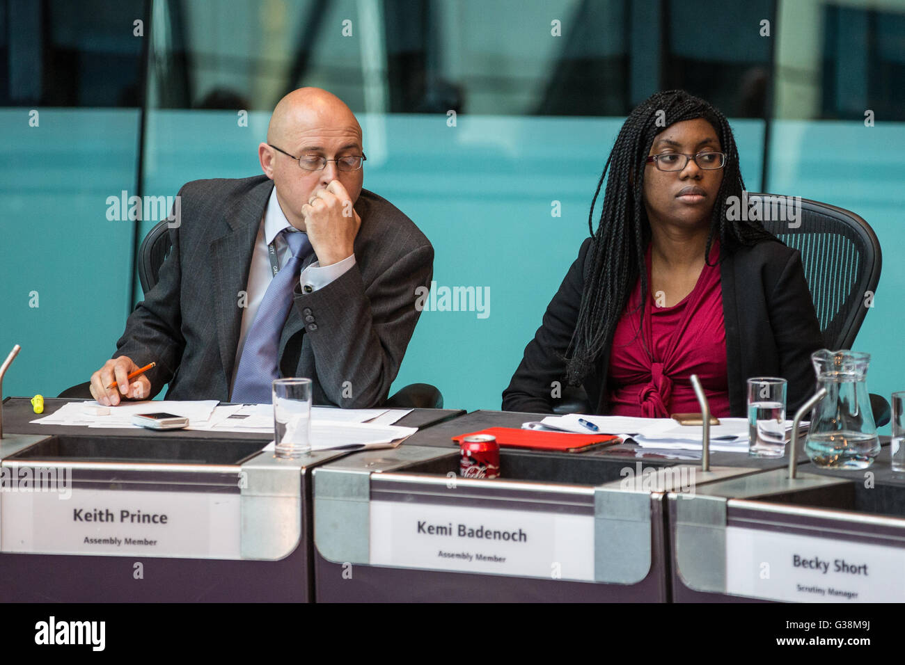 London, UK. 9th June, 2016. Conservative London Assembly Members Keith Prince and Kemi Badenoch listen to a question - Stock Image