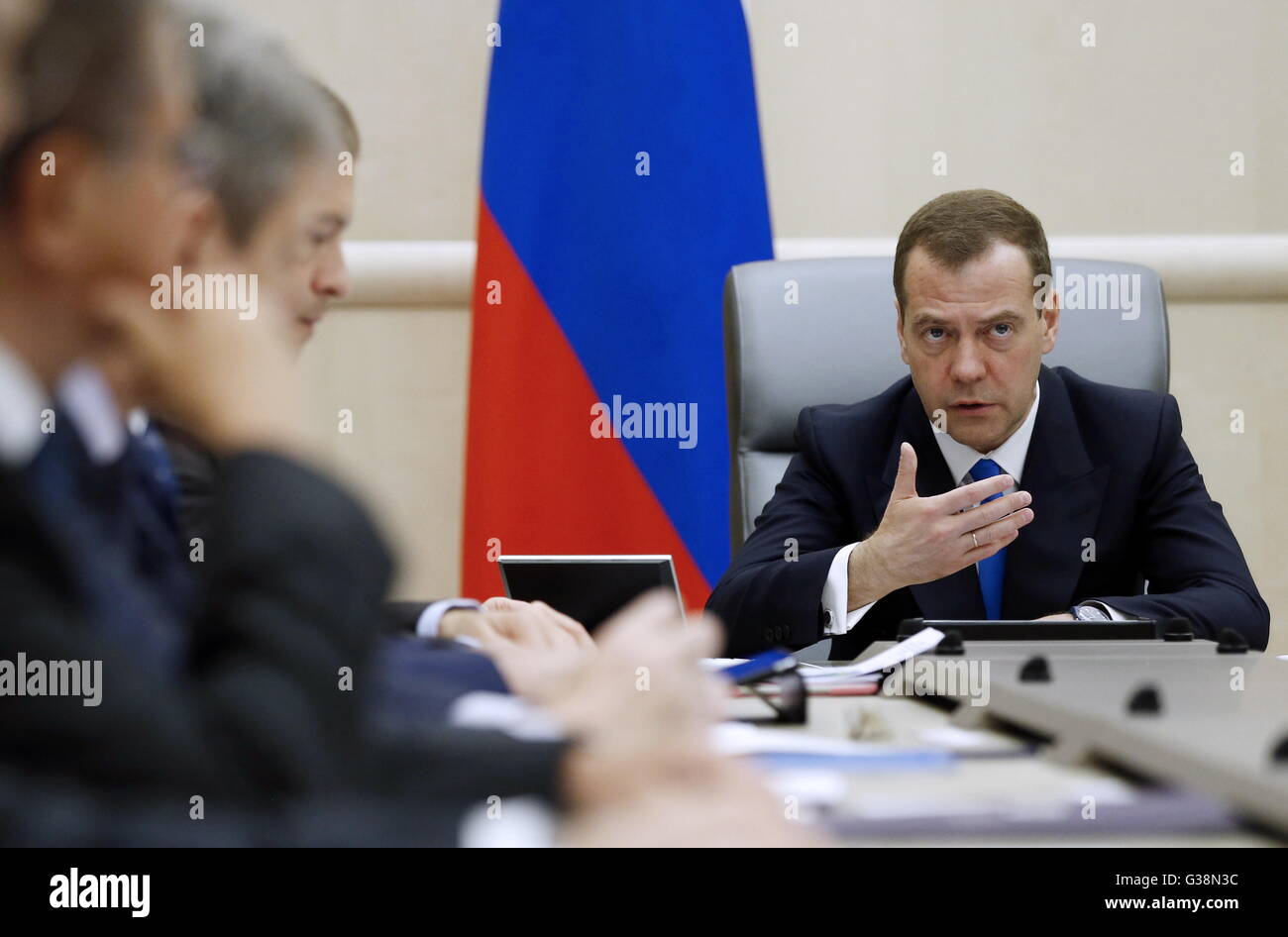 Moscow, Russia. 9th June, 2016. Russia's prime minister Dmitry Medvedev (R) at a meeting of Russian government officials Stock Photo