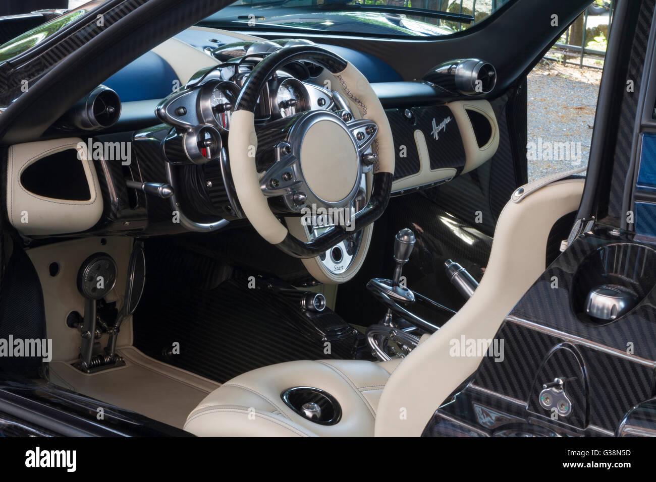Turin Italy 8th June 2016 Interior Of Pagani Huayra Bc Pearl Stock Photo Alamy