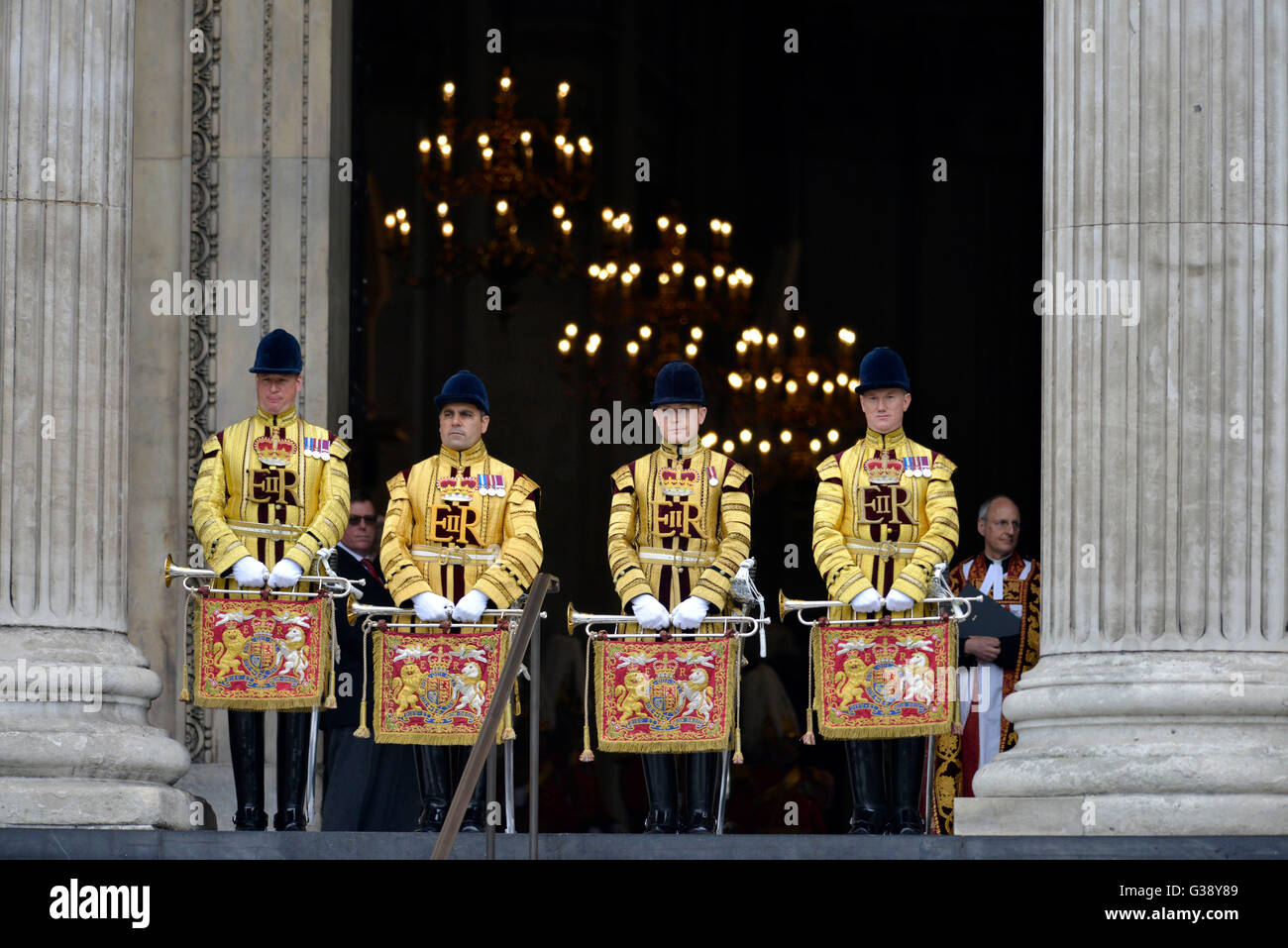 Archbishop of Canterbury, Justin Welby and State Trumpeters of the Household Cavalry await the Queen at National - Stock Image