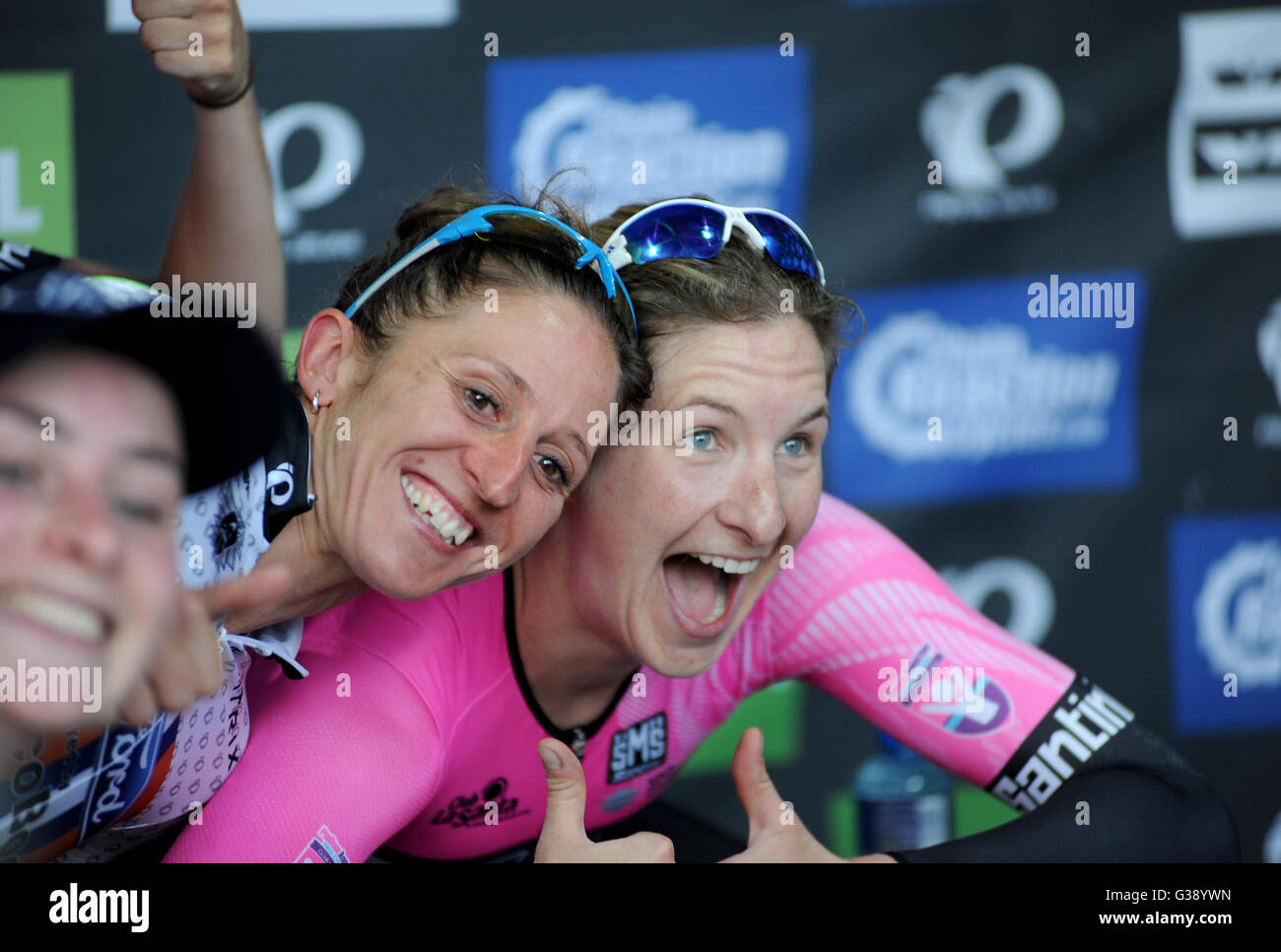 Portsmouth, Hampshire, UK, 9th June 2016. Overall Tour Series Sprint Winner Nikki Juniper of Ford Ecoboost (L) and Stock Photo