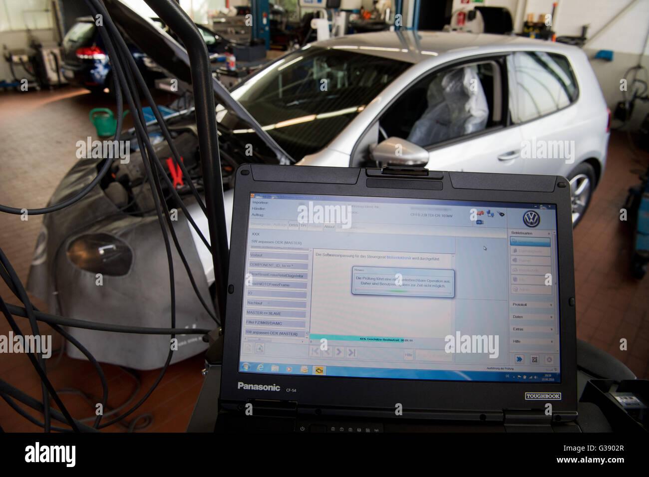 Hanover, Germany, 10 June 2016  A master mechanic uploading a Stock