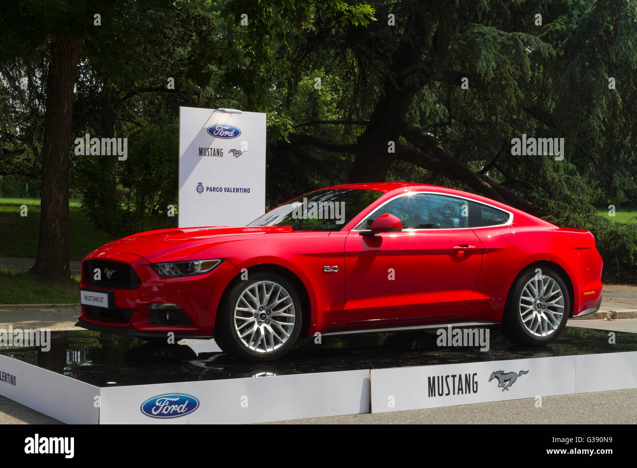 Turin, Italy. 08th June, 2016. A red Ford Mustang during the Parco ...
