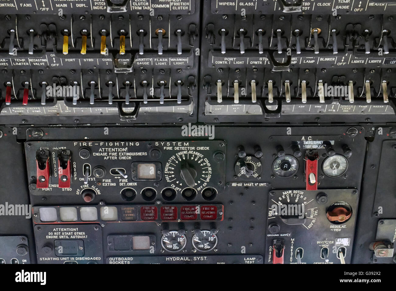 Mil Mi-8T helicopter cockpit control panel, Finland - Stock Image